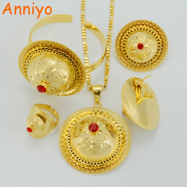 Anniyo 2017 Ethiopian Wedding Jewelry sets Gold Color Ethnic