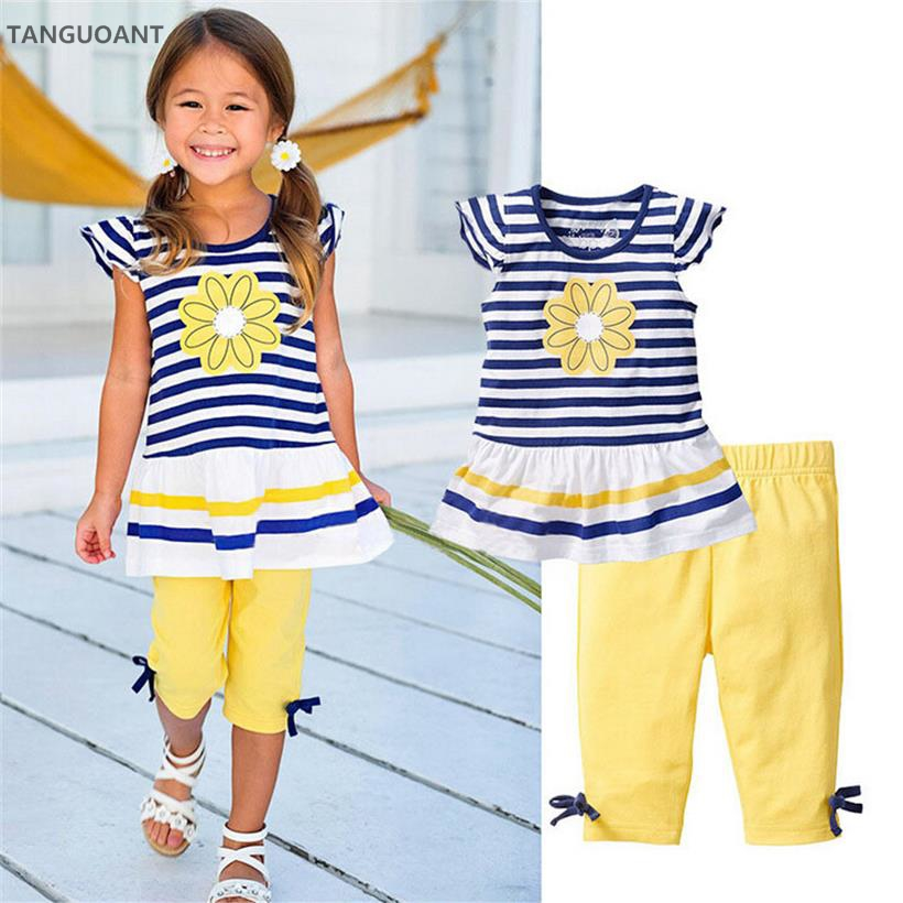 TANGUOANT Summer Girls Clothing Sets Baby Kids Clothes Suit Children Sleeveless Striped T-Shirt +Pants roupas infantil meninas 2018 new girls flowers lace 3pcs clothes sets brand children s clothing kids coat t shirt pants suits baby roupas de bebe menina