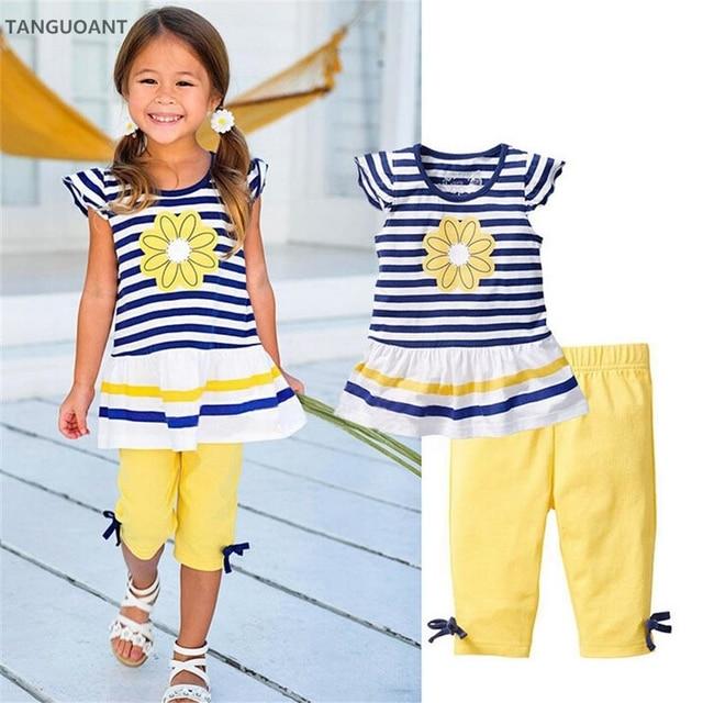 TANGUOANT Summer Girls Clothing Sets Baby Kids Clothes Suit Children Sleeveless Striped T-Shirt +Pants roupas infantil meninas