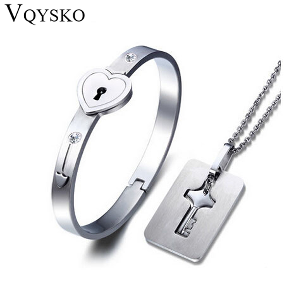 все цены на A Couple Jewelry Sets Stainless Steel Love Heart Lock Bracelets Bangles Key Pendant Necklace Couples