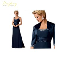 Elegant Long A Line Three Quarter Sleeve Mother Of The Bride Dresses With Jacket Evening