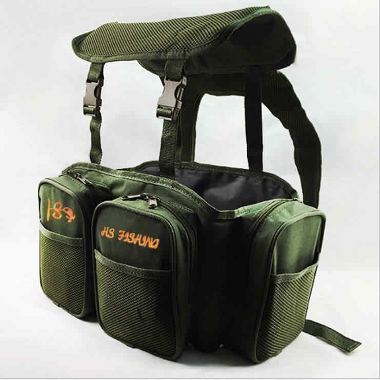 Carp Sea Fishing Green Harness bag Pack Rucksack Converter Pocket for all  Seat Box Tackle Boxes Saltwater Freshwater 40*20*38cm