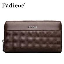 Padieoe Fashion Genuine Leather Wallets Men Cow Leather Clutch Wallet Business Male Purses Double Zipper Long Card Holder Wallet