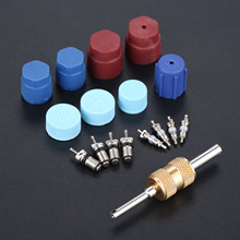 Auto Accessories 17pcs Car AC Valve Cores R134A R12 R22 System Cap Air Conditioning Parts Installer Tool Kit