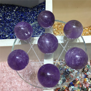 Pretty natural amethyst quartz seven star array reiki healing crystals gemstone ball for home decoration with the base