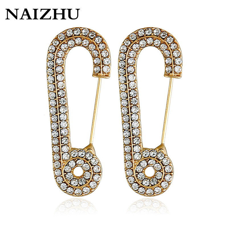 Unique Design Gold Silver Color Party Punk Personality Alloy Safety Pin Stud Earrings For Women Fashion Jewelry