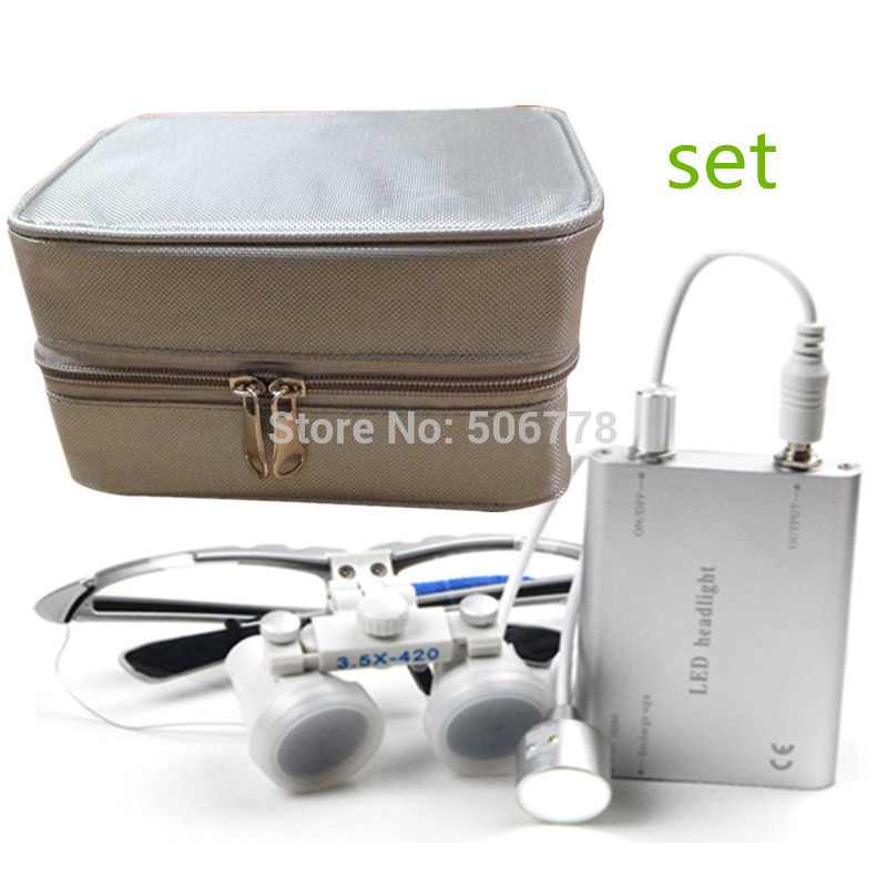 Super Set!  Dentist Dental Surgical Medical Binocular Loupes 3.5X and 2.5x Optical Glass Loupe+LED Head Light +silver case  spark 2 5x magnification dentist surgical medical binocular dental loupes with comfortable headband and mounted led head light