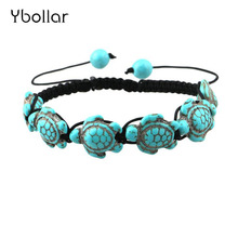 1pc Boho Vintage Turquoises Tortoise Bracelets for Women Men Turtle Charm Braided Bracelet Adjustable bead bracelet jewelry