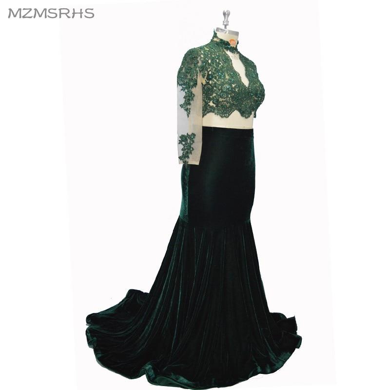 MZMSRHS Dy pjesë të rrobave prom me mëngë të gjata me aplikime - Fustane për raste të veçanta - Foto 3