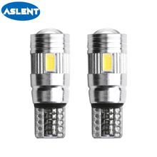ASLENT Car Signal Lights 2x T10 w5w Led Bulb Error Free 12V Auto Interior Light Canbus Lamps Bulbs for Cars 6000K White