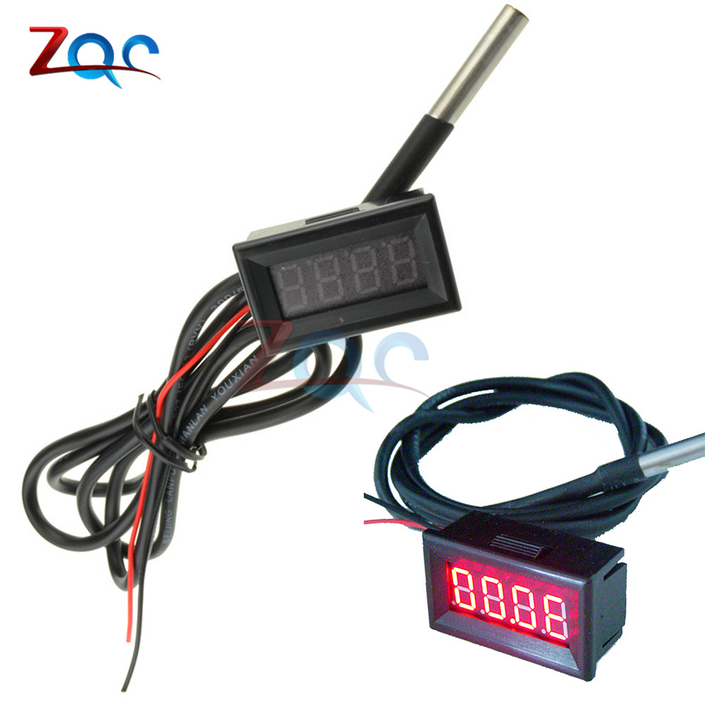 Red 0.36 inch LED Digital Mini Thermometer Temperature Meter with DS18B20 NTC Sensor waterproof -55C-125C 55 125 celsius degrees red led digital car thermometer temperature meter ds18b20 sensor page 1