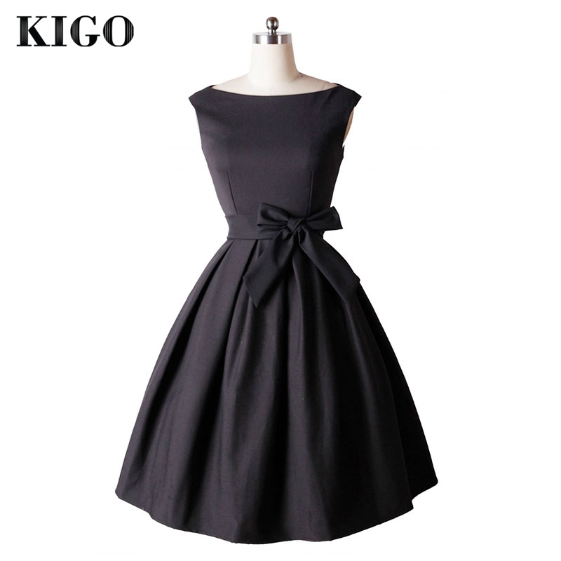 KIGO 2016 Elegant Black Dress Summer Retro 50s Dress Vintages