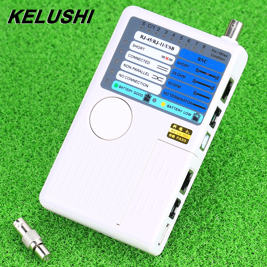 KELUSHI Newest Arrival Networking tools 4 in 1 RJ11 RJ45 USB BNC LAN Network Cable Tester for Cables Tracker Detector Hot Sell