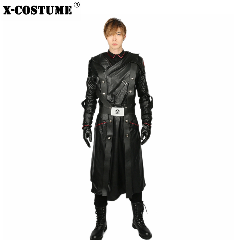 X-COSTUME Captain America Red Skull Costume Men's Cool Movie Cosplay Costumes Outfit Male Black PU Leather Cotton Cosplay Sets