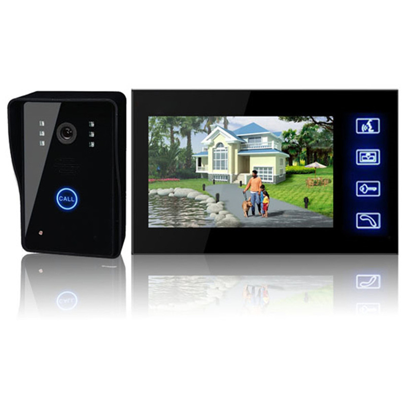 7 inch Color LCD Video Door Phone Intercom System 700TVL Outdoor IR Camera Night Vision Video Doorbell Monitor Intercom Indoor tmezon 4 inch tft color monitor 1200tvl camera video door phone intercom security speaker system waterproof ir night vision 4v1