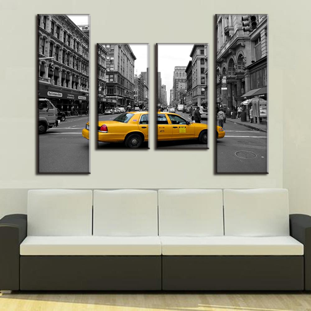 New York City Modern Canvas Painting Print Picture Home: 4 Pcs/Set Modern Wall Paintings New York City Canvas