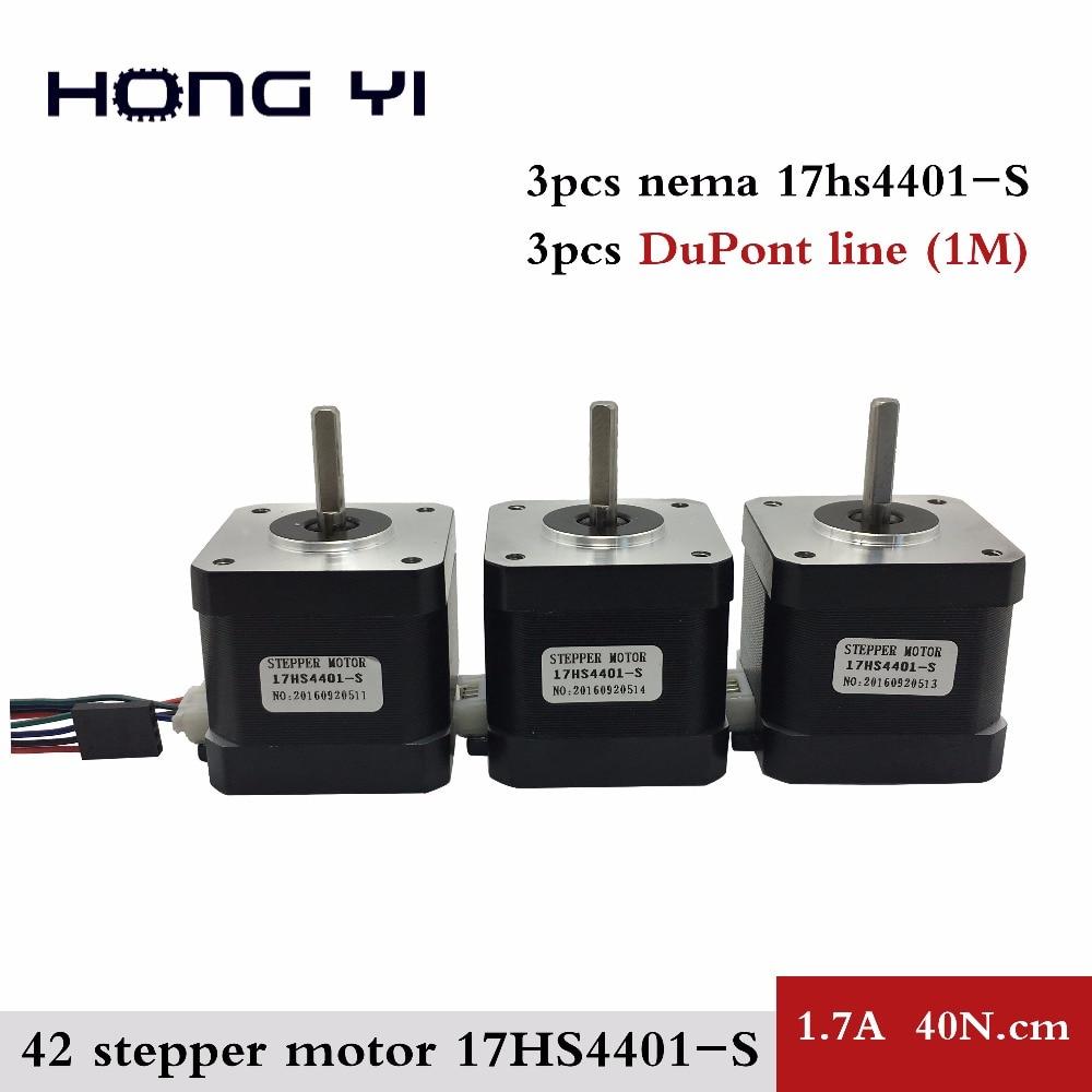 купить Free Shipping 3pcs Nema17 Stepper Motor 42 motor Nema 17 1.7A (17HS4401S) motor for CNC XYZ 3D printer 4-lead with DuPont line по цене 1636.7 рублей