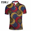 FORUDESIGNS Summer short-sleeve shirt male stand collar short sleeve polo raditional african print short-sleeve Tees plus size