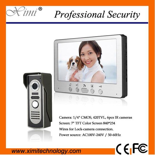 6pcs IR cameras outdoor camera system wires for Lock camera connection 7 TFT color screen vidio