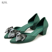 BJYL 2019 Summer Sweet Butterfly-knot Shallow High Heels Shoes New Pointed Toe Fashion Women Pumps Sexy Women's Dress Shoes B213 memunia 2018 sweet shoes women pumps high heels shoes low heels pointed toe fashion shallow mouth large size dress shoes