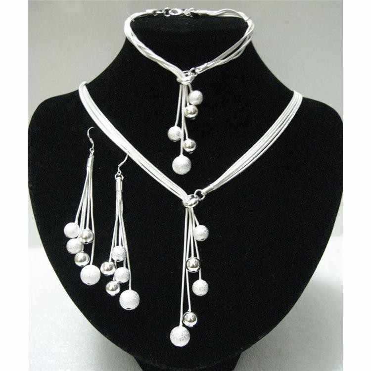 925 sterling silver high-quality five-wire beads new ladies wedding jewelry party gift three-piece AKS0001
