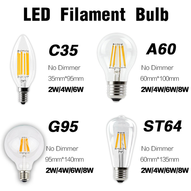 LED Filament Bulb E27  E14 Vintage Edison Lamp DIMMABLE COB 220 Globe Retro Candle Light Chandelier Lighting  Home Decor