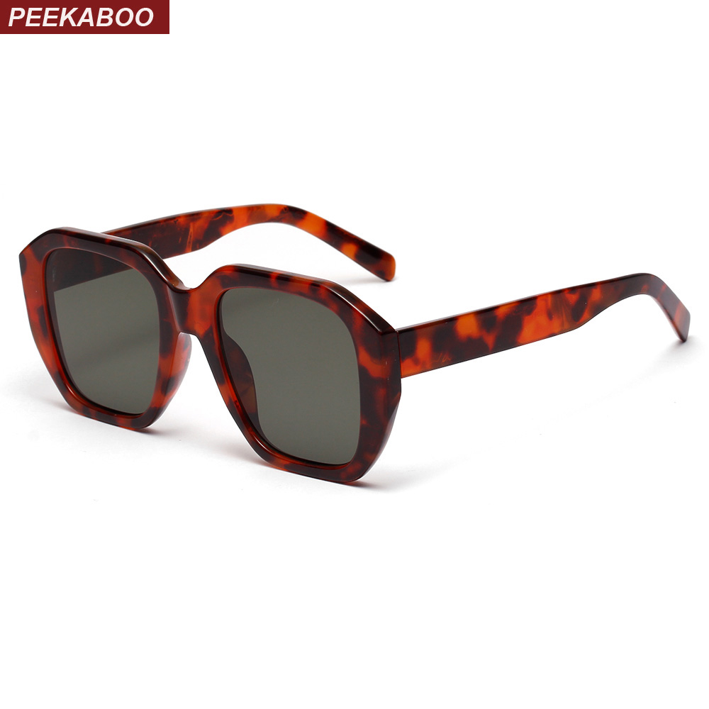 d25fc10db24b3 Peekaboo estilo quadrado preto óculos de sol das mulheres designer de marca 2019  verão leopard oversized