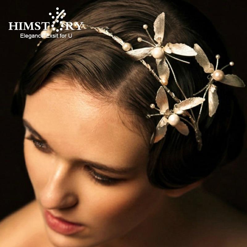 HIMSTORY Vintage Gold Baroque Pearl Headbands Crowns Wedding Hair Accessories Bridal Jewelry Headpieces Tiaras