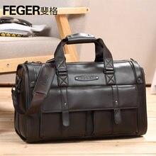 Купить с кэшбэком Durable Thicken Cow Leather Big Men Handbags Fashion Genuine Leather Men's Travel Bags