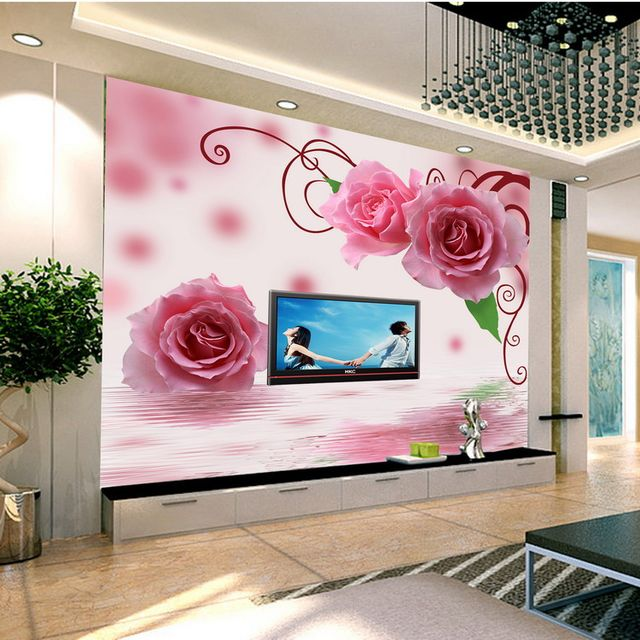 Online Shop Custom 3d large mural wall paper TV wall living room red ...