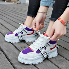 2019 Spring New Leather Womens Running Shoes Platform Chunky Sneakers Fashion Women Flat Thick Sole Woman Dad Footwear