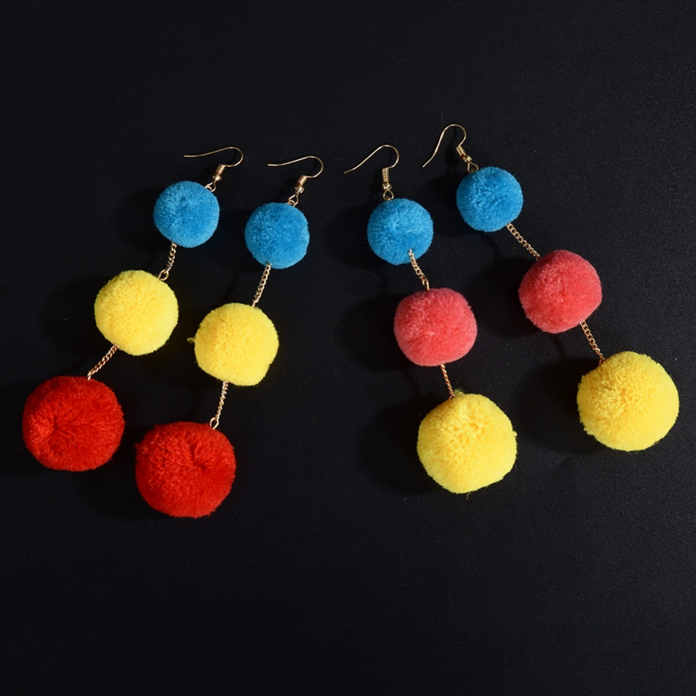 1 Pair Trendy Plush Colorful Ball Dangle Drop Earrings For Women Girls Pendant Ears Piercing Body Jewelry New Arrivals