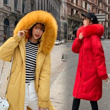 цена на Fake Fur Collar Winter Female Jacket New 2019 Fashion Coat Women Winter Coat Slim Women Parka Warm Hooded Winter Jacket Women