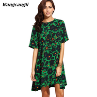 Wangcangli 2017 Europe And America Hot Style Spring And Summer Loose Short Sleeve Printing Pleated O
