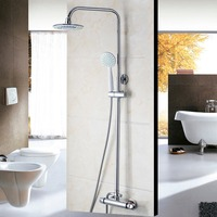 Modern New Bathroom Faucet Chrome Polished Shower Set Hot&Cold Mixers Taps Wall Mounted Rainfall Shower Faucets