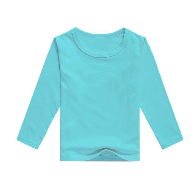 Aqua Blue Kids T Shirt Blank Tee Shirts Children Candy Cane Long
