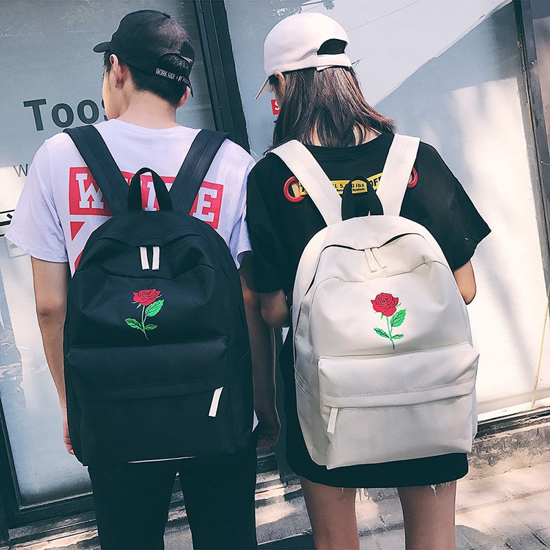 Moon Wood Newest Embroidery Rose Lloral Backpack Men Women's Travel Bags Mochilas Rucksack School Bags For Teenager Girls Boys #2
