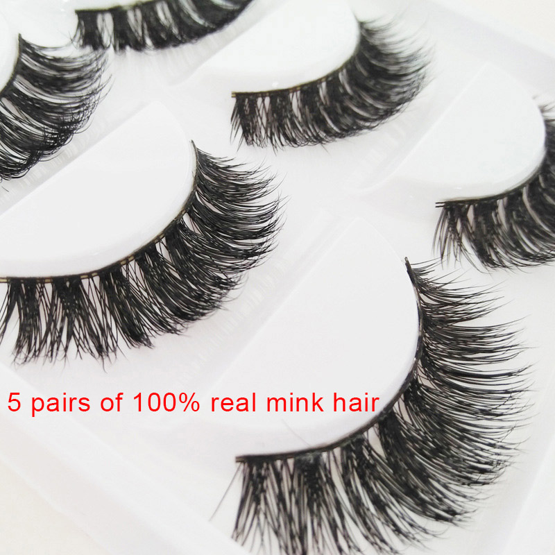 5 Pair/Box Fashion False Eyelashes <font><b>Mink</b></font> Hair Handmade Natural Eye Lashes <font><b>Nude</b></font> Makeup Extension High Quality SSwell