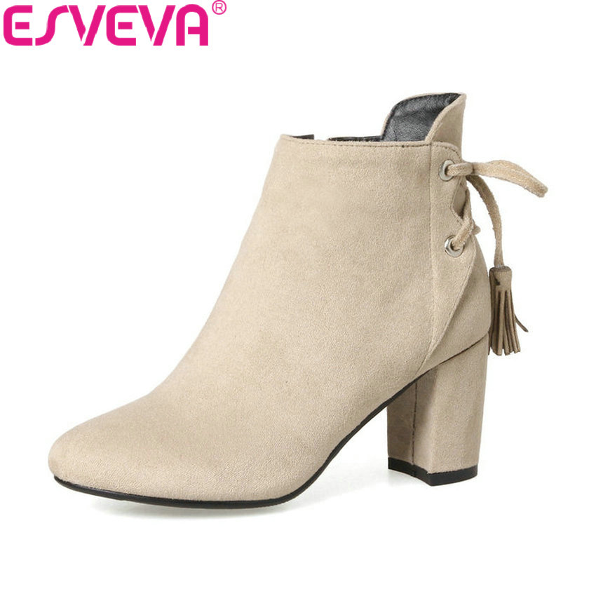 ESVEVA 2018 Women Boots Elegant Short Plush Ankle Boots Round Toe Square High Heel Simple and Fashion Style Boots Size 34-43 vallkin 2018 women boots elegant pointed toe square high heels ankle boots short plush pu lining black ladies boots size 34 42