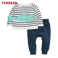 VIMIKID Boys Clothing Sets 2017 Autumn O Neck Casual Style Striped Cartoon Fish Shirt Casual Pants