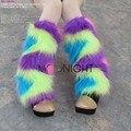 TITIVATE Mujeres Calcetines De Invierno Del Tobillo Sexy Golpe Color de La Pierna fundas de Piel Sintética 40 cm Zapatos Manguito Peludo Suave Del Tobillo de la pierna navidad