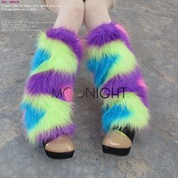 Women Winter Leg Warmers Ankle Covers Sexy Hit Color Socks Faux Fur 40cm Boots Shoes Cuff
