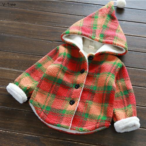 2016 de Inverno Meninas Novas Outwears Casacos Xadrez Bebê Crianças Grosso Quente Com Capuz Casacos Crianças Double-deck Roupas de Lã de Cordeiro