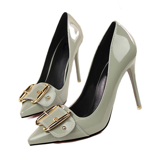 Plardin New Women Pointed Toe Wedding Pumps Shoes Woman Thin High Heels Shoes Elegant Bridal Party Buckle Strap women's Pumps