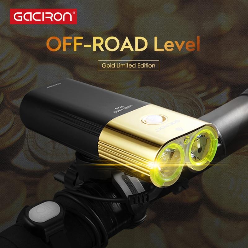 GACIRON V9D-1800 Professionnel 1800 lumens Vélo lumière Puissance Banque Étanche USB Rechargeable 6700 mah Vélo léger Fl