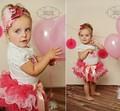 2015 Новый Летний новорожденных девочек комплект одежды bebe короткий рукав рубашка + пачка юбка костюм для девочек подарок на день рождения дети мода костюм
