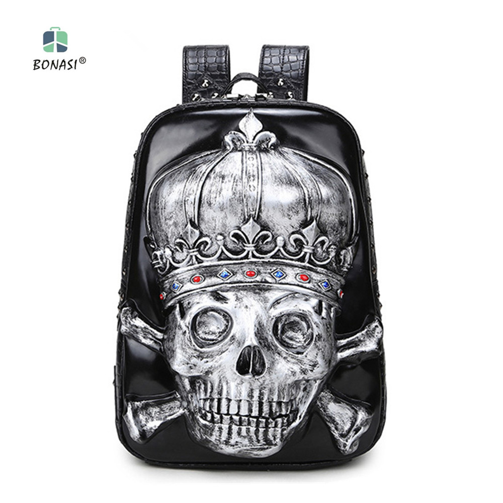 New 2018 Hip-Hop Rock Style 3D Skull head Unisex backpack PU leather Backpack mochila Waterproof Men Women bag school boys bags unicorn backpack women men leisure bag harajuku galaxy backpack school bags for girls boys mochila escolar children book bag 3d
