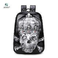 Nowy 2017 Hip-Hop Rock Styl 3D Skull szef Unisex plecak PU skóra Plecak mochila Wodoodporne Mężczyźni Kobiety torby szkolne chłopców torby