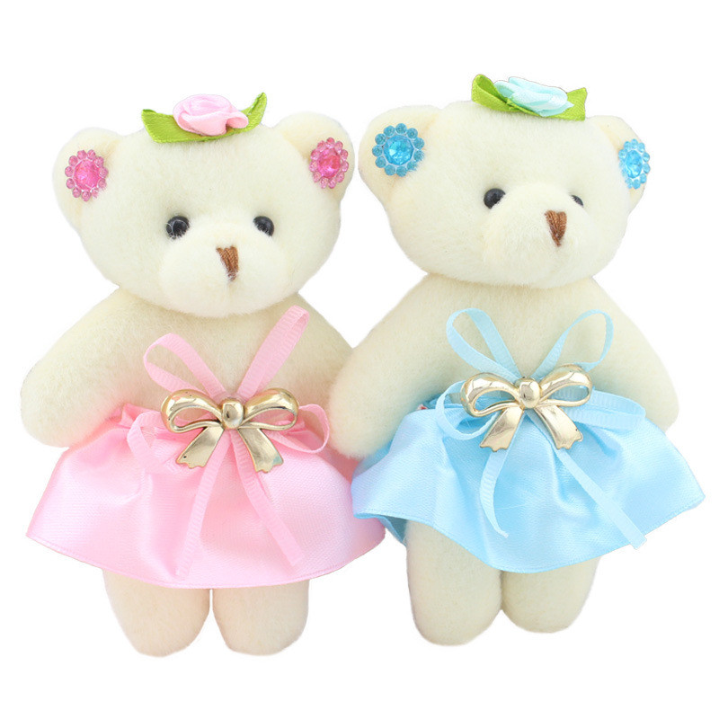 6pcs/lot Kawaii Small Teddy Bears Stuffed Plush 12CM Toy Mini Cartoon Bouquet Teddy-Bear Wedding Children Toy Phone Key Pendant