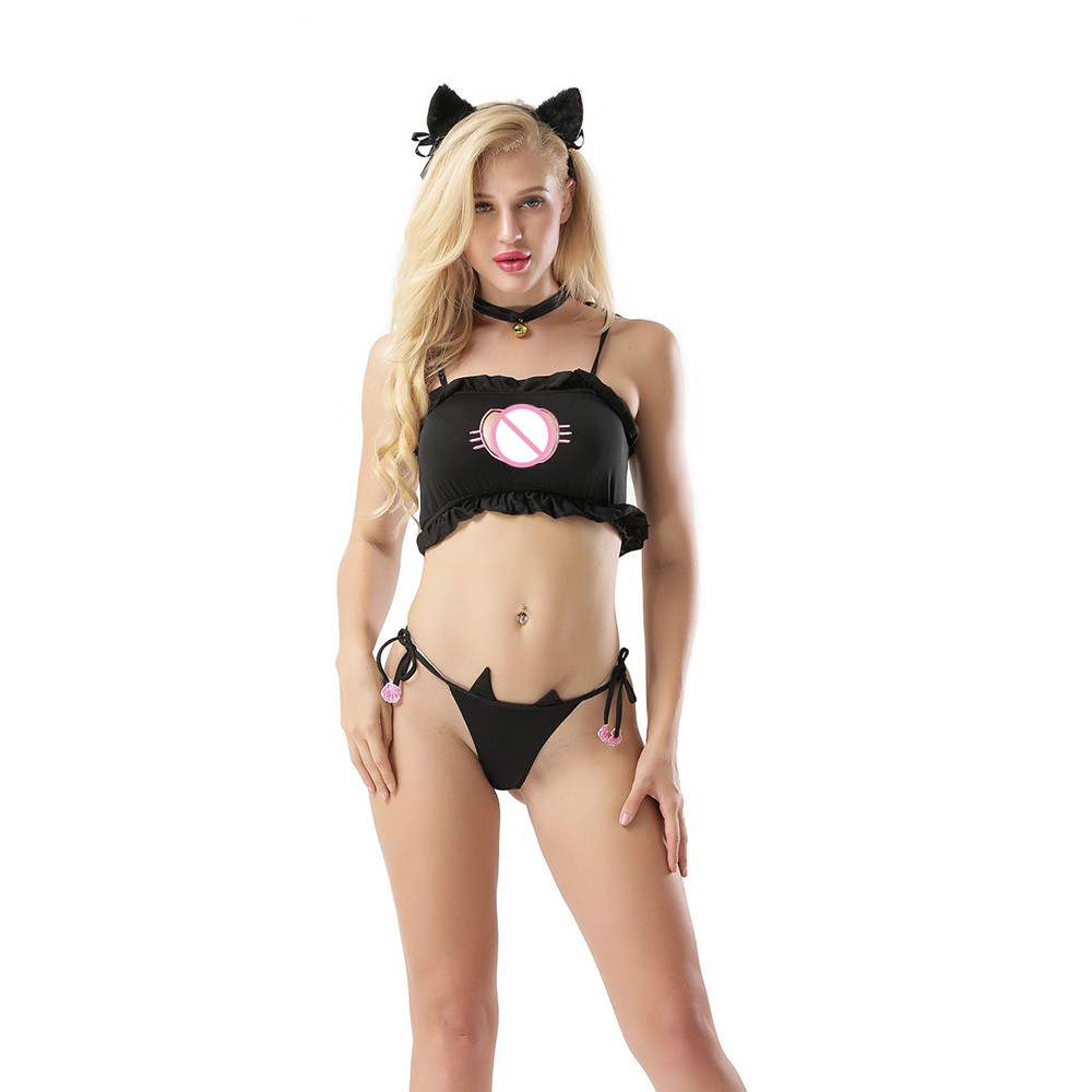 Sexy Lingerie Women Underwear Porno Uniform Temptation Erotic Thin Ladies' Sexy Cleavage Three - Point Cat Uniform Seduces H4